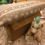 Image of a box with a pillow and stuffed animal holding tablets.